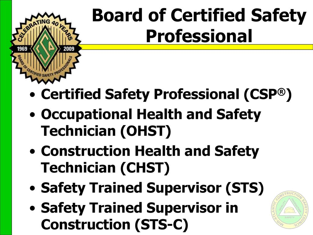 Career paths for the safety professional ppt video online download board of certified safety professional xflitez Gallery