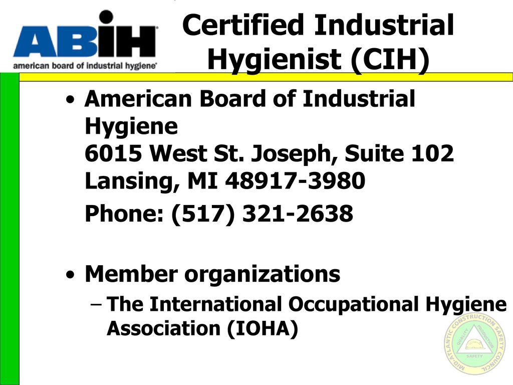 Career paths for the safety professional ppt video online download 31 certified industrial hygienist cih 1betcityfo Choice Image
