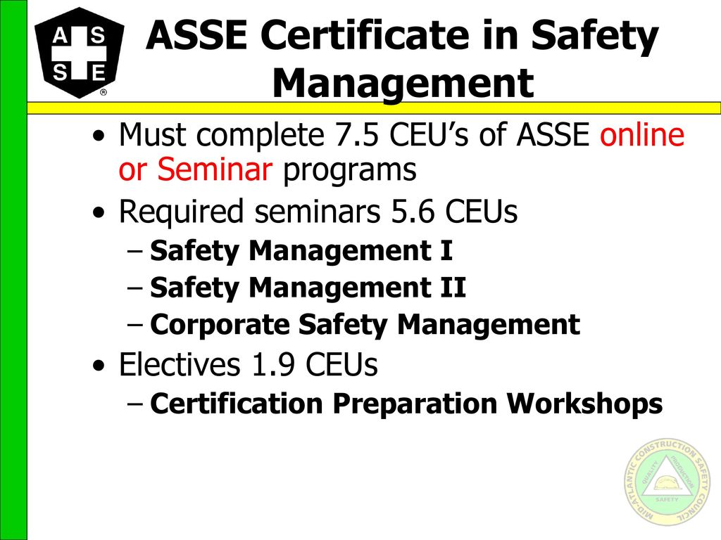 Career paths for the safety professional ppt video online download asse certificate in safety management 1betcityfo Gallery