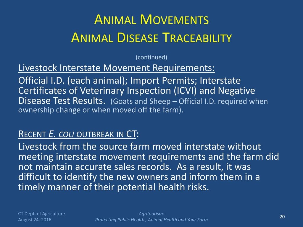 Connecticut department of agriculture ppt download 20 animal movements animal disease traceability 1betcityfo Gallery