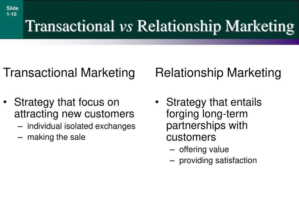 transactional and relationship marketing Adagenda • the ch ichanging focus in mkimarketing • traditional versus relationship marketing approach • transactional versus relationship marketing.