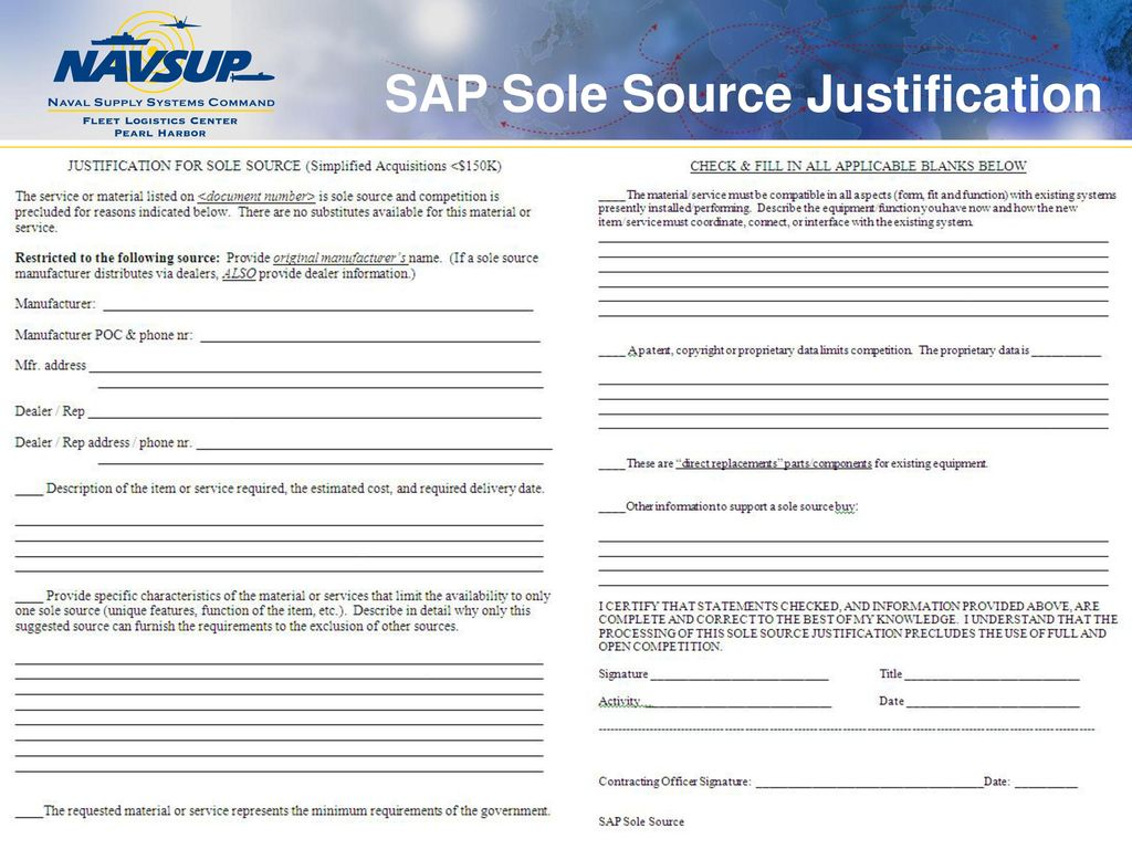Acquisition 101 developing the requirements package customer sap sole source justification pronofoot35fo Images