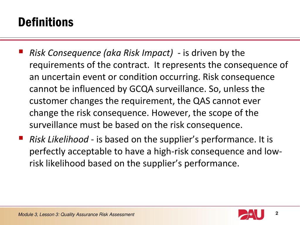 LESSON 3 Quality Assurance Risk Assessment - ppt download