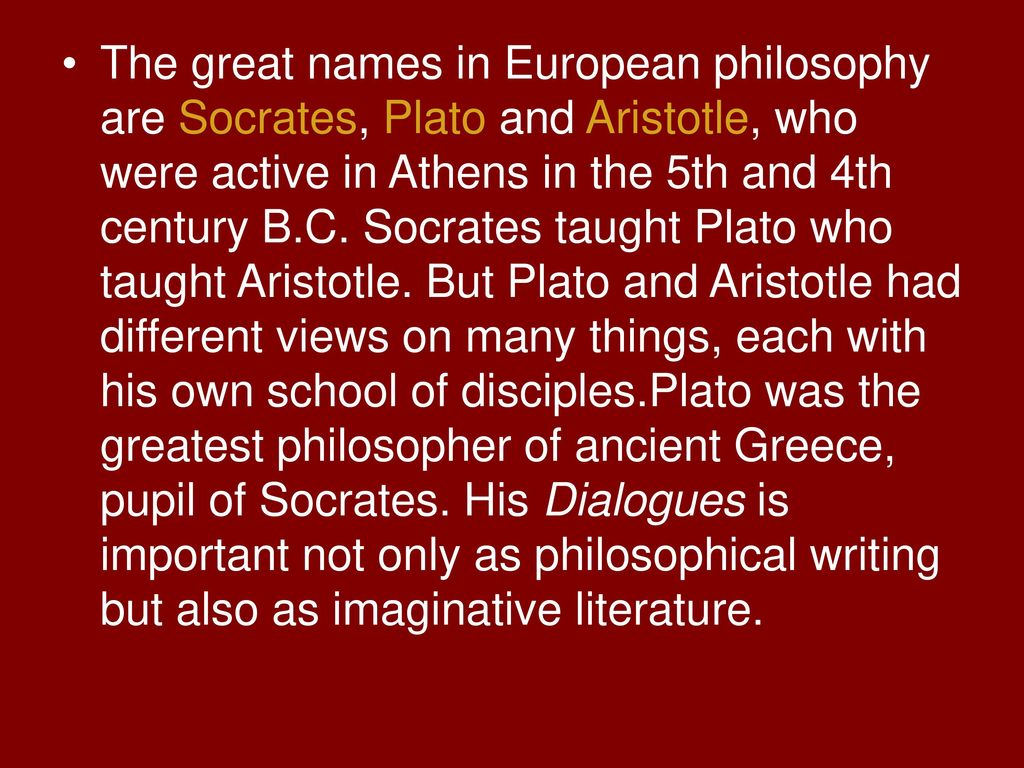 comparing and contrasting the views of great philosophers plato and aristotle He was a student of socrates, and started a school of  aristotle criticized plato's  political views mostly on empirical and practical grounds.
