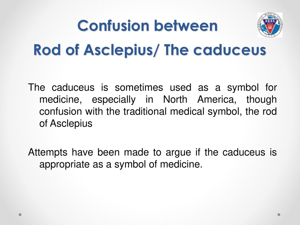 Greek mythology and modern medicine ppt download confusion between rod of asclepius the caduceus biocorpaavc Images