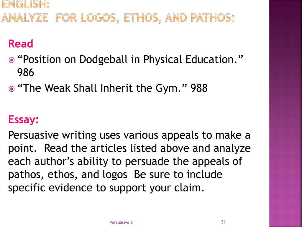 writing a persuasive essay using ethos pathos and logos Ethos, pathos, logos using ethos, pathos, and logos (fa17)- wk 10 (persuasive writing more prezis by author popular presentations.