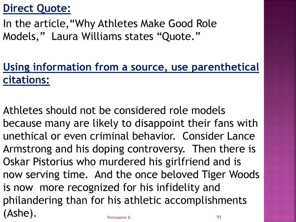 why athletes are good role models
