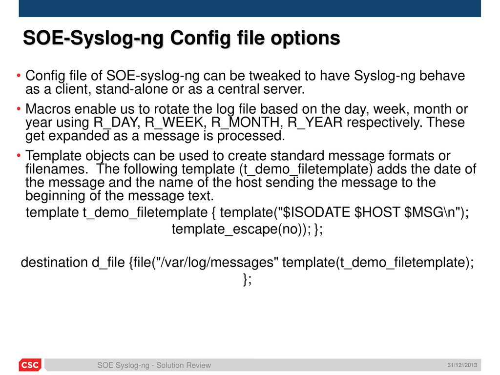 Overview soe syslog ng ppt download for Syslog ng template example