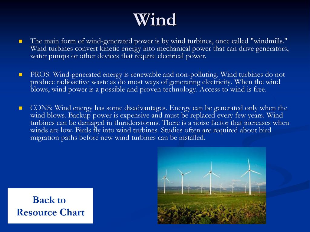 Wind Back to Resource Chart