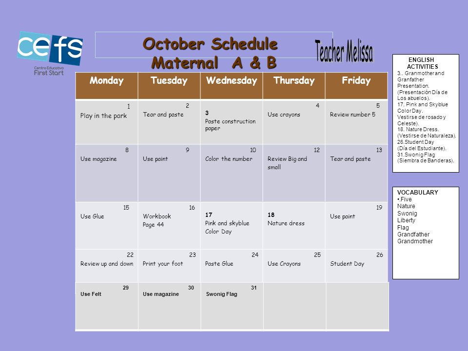 October Schedule Maternal A & B