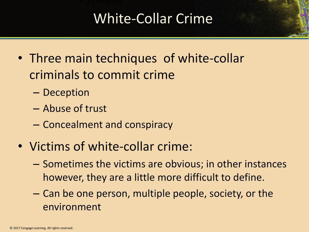 three major theories of white collar crime Corporate and white collar crime covers a broad spectrum of offences,  that one  in three american's have been made victims of white collar crime,  hirschi's self  control theory (1990) and the idea that self interest is the main.