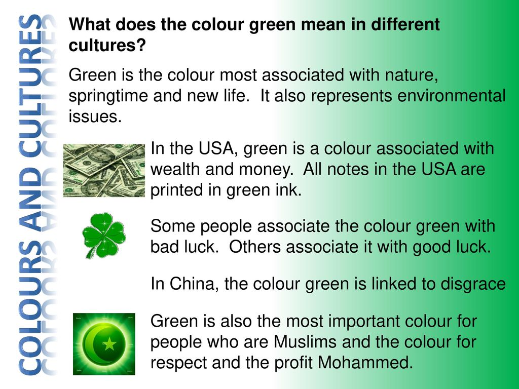 Other Cultures Rd May Ppt Download. what does the colour green