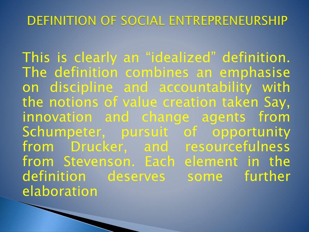 6 DEFINITION OF SOCIAL ENTREPRENEURSHIP