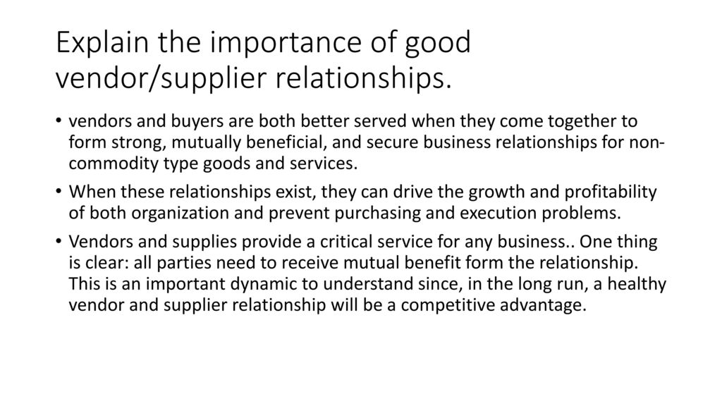 the importance of purchaser and supplier relationship