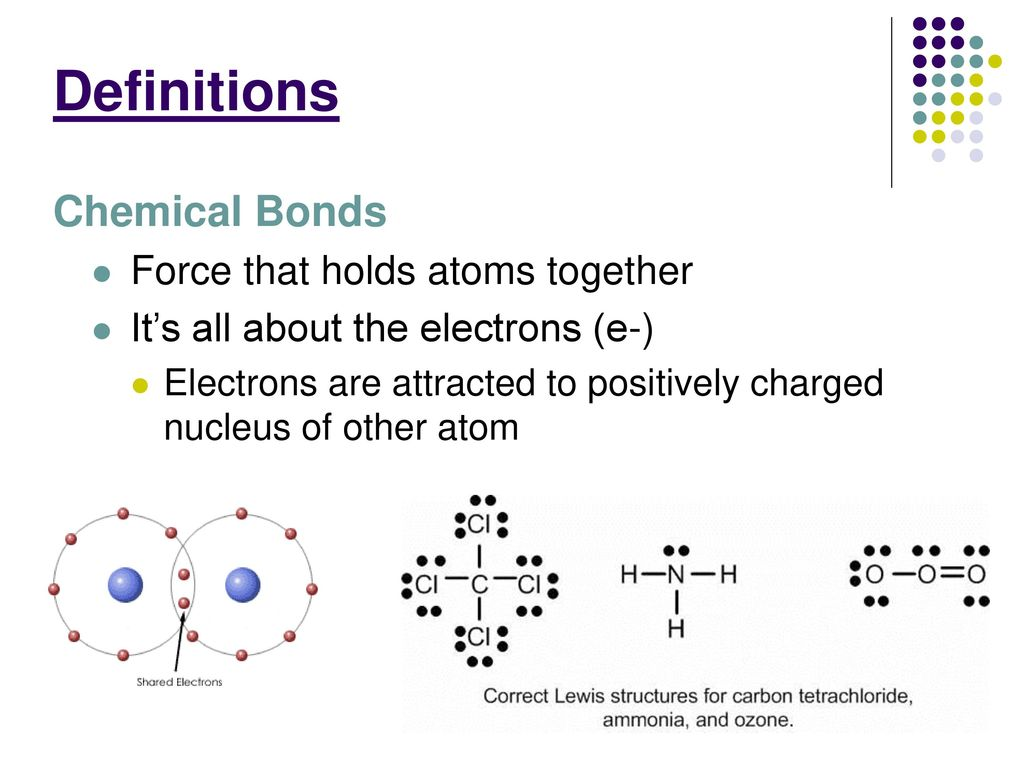 bonding atoms Most of bonding behavior can be explained by the attraction between two opposite electrical charge the electrons of an atom or ion are attracted to their own positively-charged nucleus (containing protons), yet also to the nuclei of nearby atoms species that participate in chemical bonds are more.