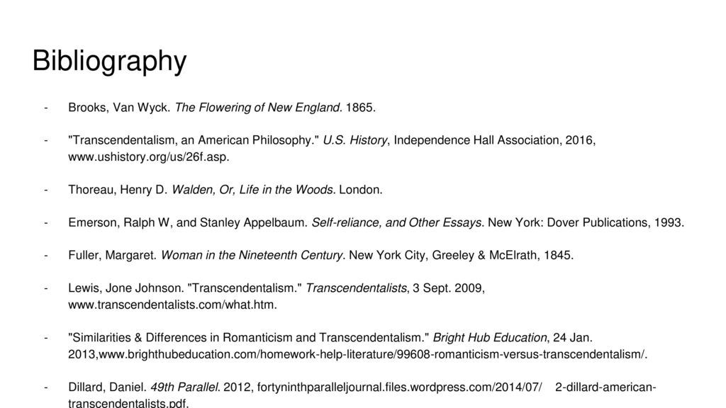 transcendentalism be yourself ppt  18 bibliography brooks