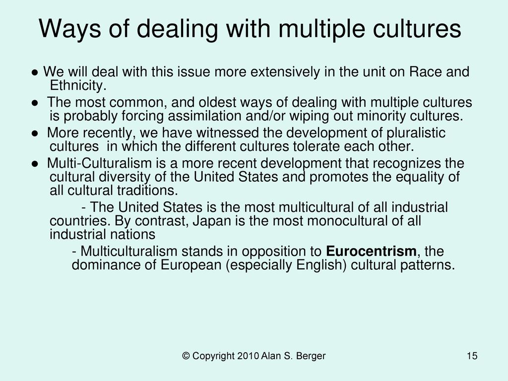 Ways of dealing with multiple cultures