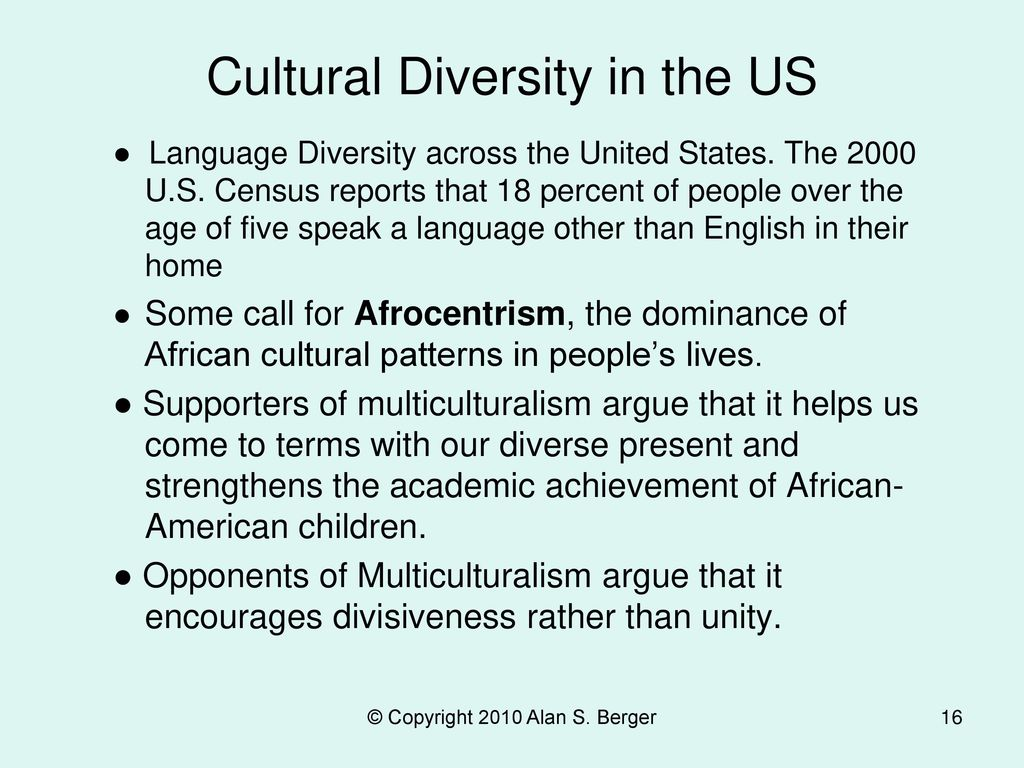 Cultural Diversity in the US