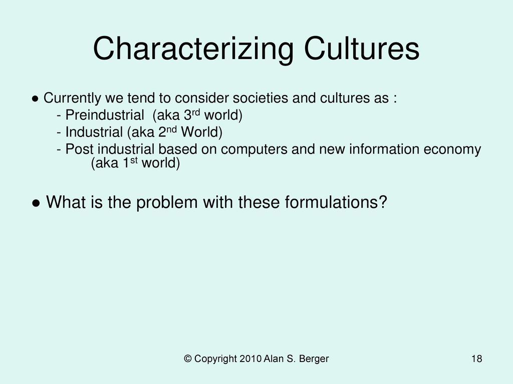 Characterizing Cultures