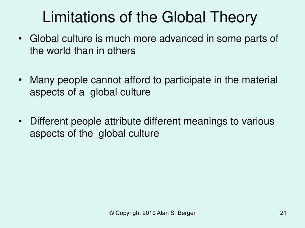 Limitations of the Global Theory