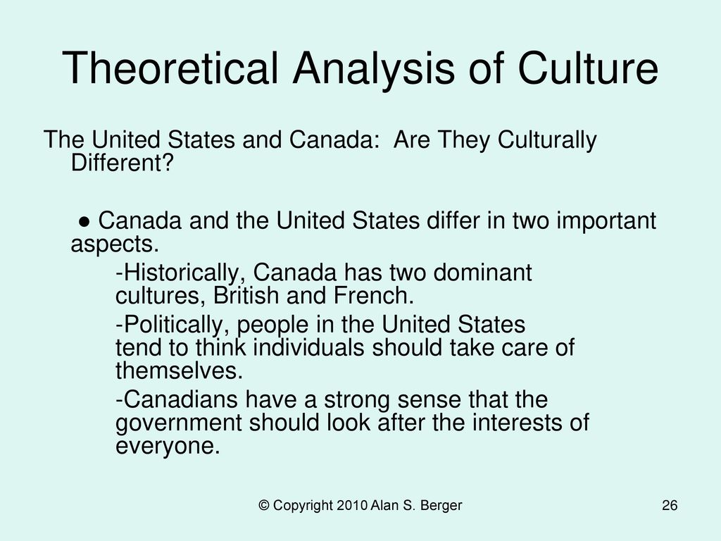 Theoretical Analysis of Culture