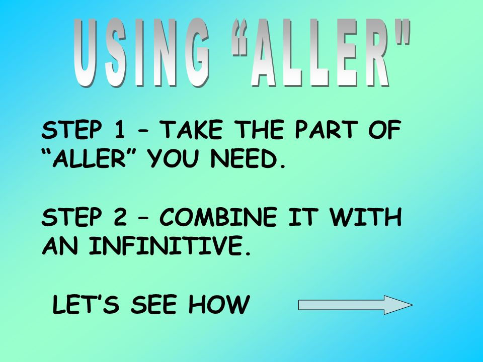 USING ALLER STEP 1 – TAKE THE PART OF ALLER YOU NEED.