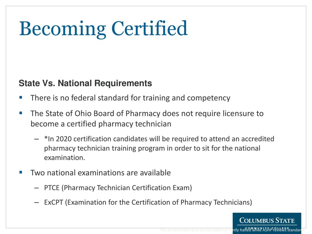 Pharmacy technician certificate summer and autumn ppt download becoming certified state vs national requirements 1betcityfo Gallery