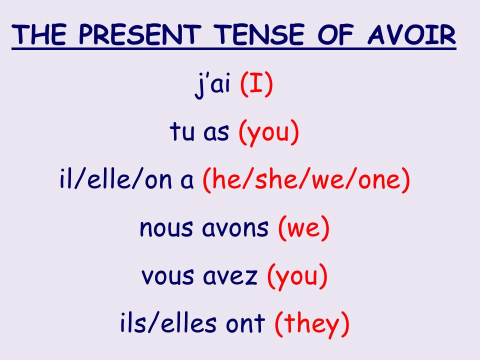 THE PRESENT TENSE OF AVOIR