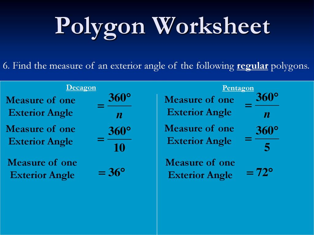 Polygon worksheet 1 concave polygon convex polygon ppt - How to find the exterior angles of a polygon ...
