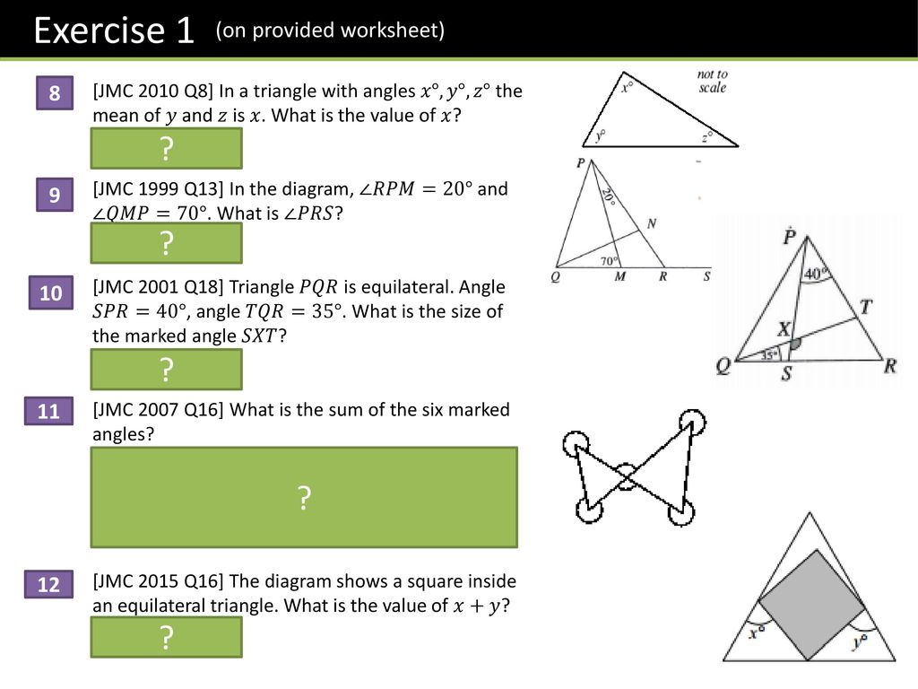 Angles in isosceles triangle worksheet tes
