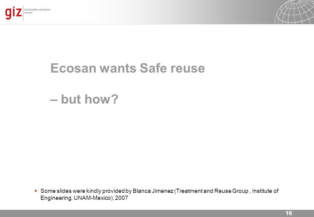 Ecosan wants Safe reuse – but how