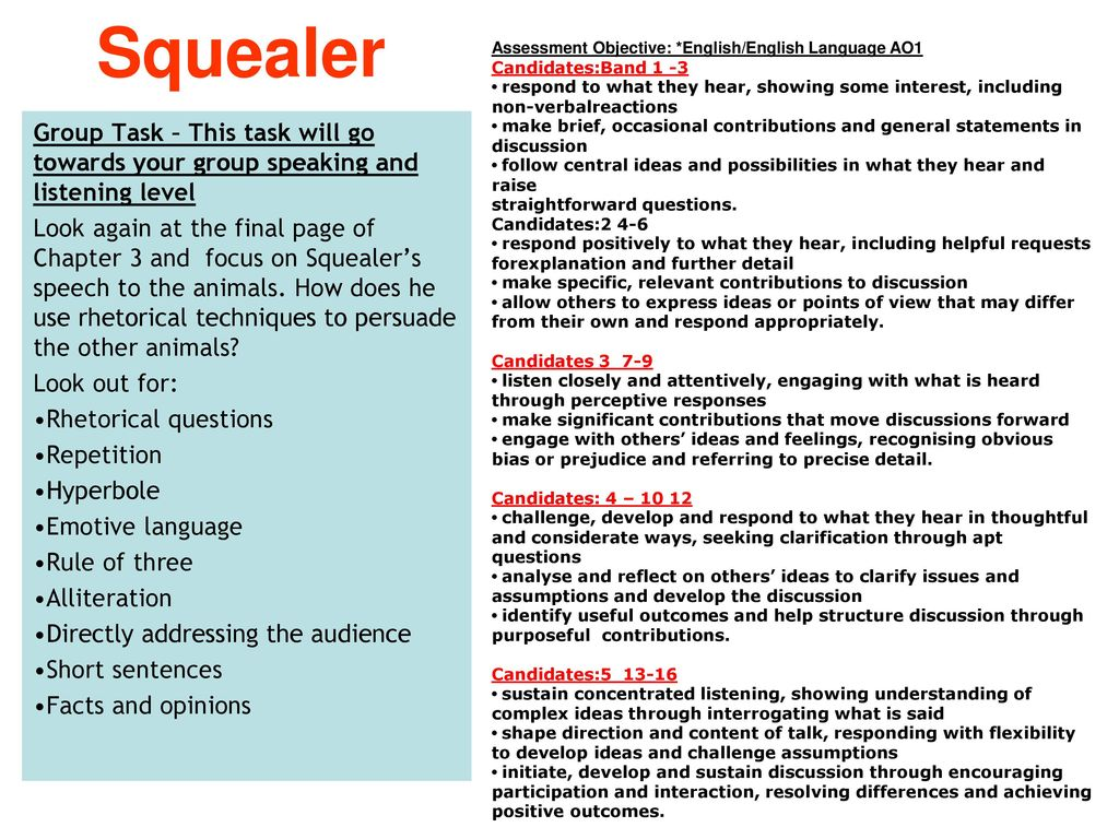 Analysing squealers speech - Coursework Example
