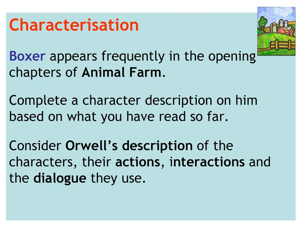 animal farm characterisation Creature shop characters from animal farm the following 9 pages are in this category, out of 9 total.