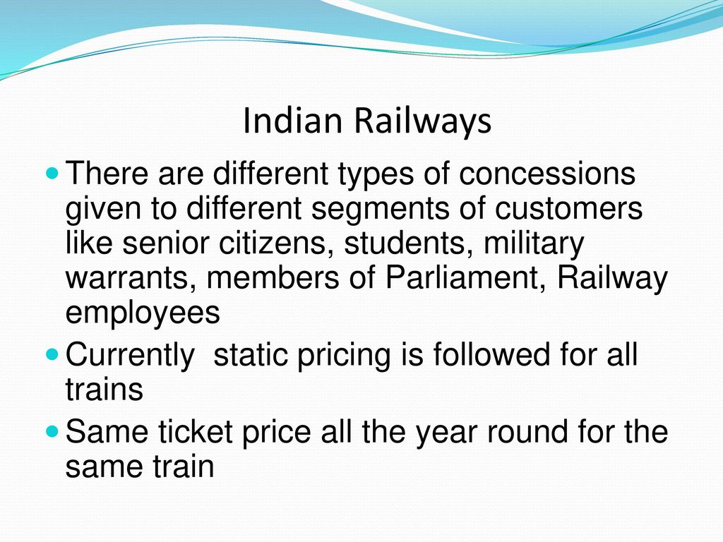 indian railways monopoly pricing The best way to modernise the railways would be to break the state monopoly topics sections  railways a better lifeline  like all indian trains,.