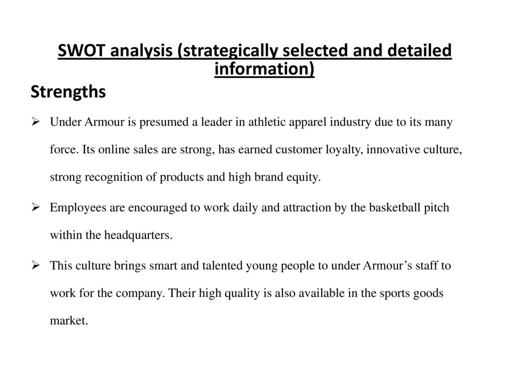 under armour industry analysis essay Need essay sample on swot and value chain analysis of under armour for an industry like under armor.