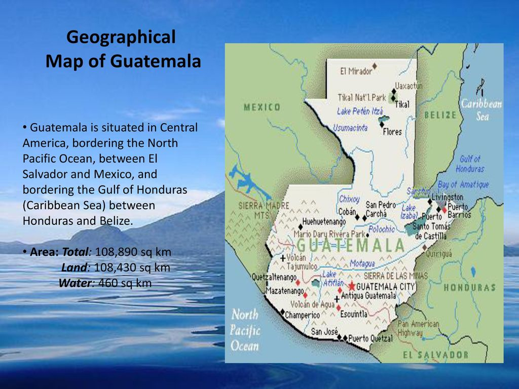 Geographical Map of Guatemala Geographical Map of