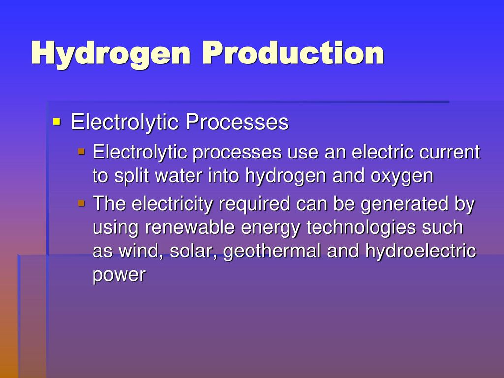 electrochemical production of hydrogen Hydrogen can be produced by several methods using chemical, electrochemical,  catalytic, thermal or biological reactions the production of.