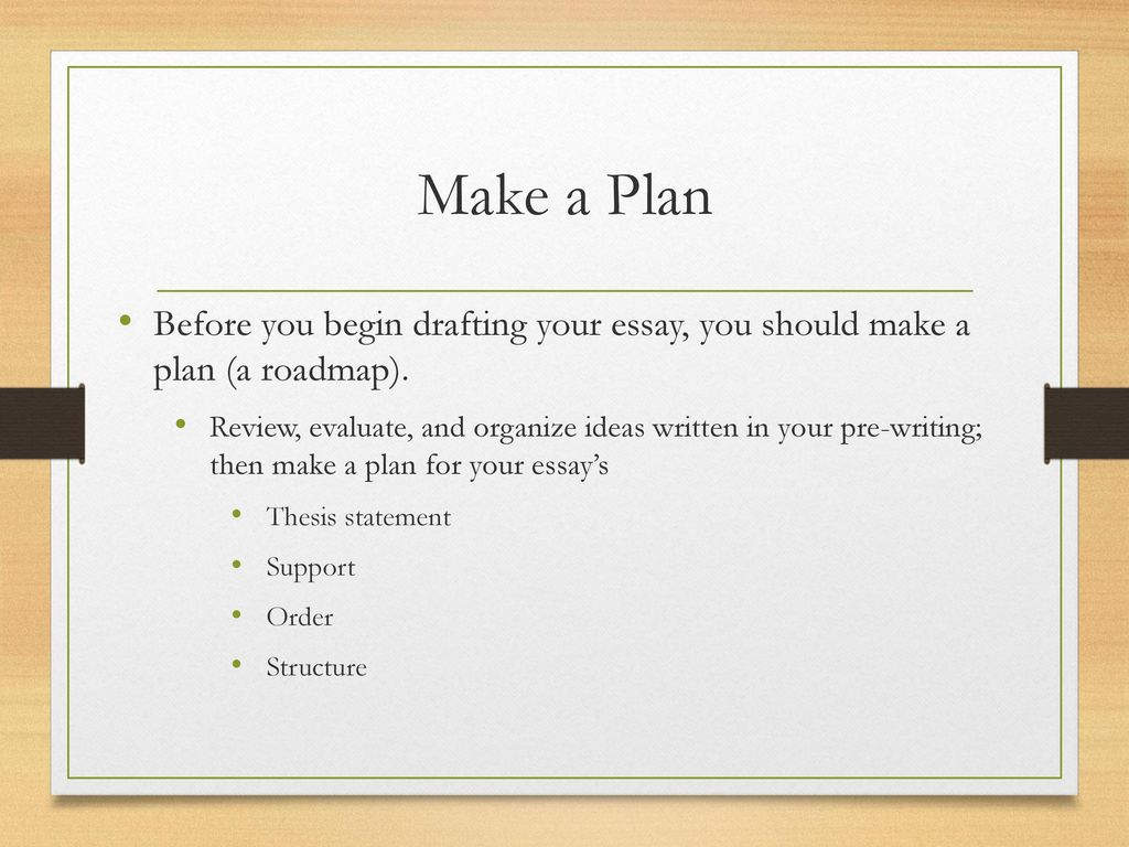 the writing process j johnson ppt video online  make a plan before you begin drafting your essay you should make a plan