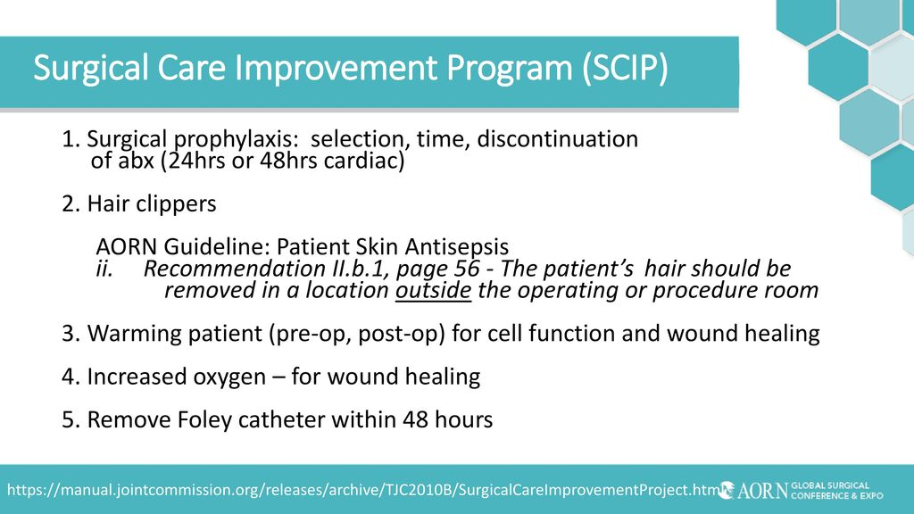 surgical care improvement 2 organization-wide adoption of national guidelines for scip (surgical care improvement project) 11 establish surgical site infection prevention as a strategic priority.