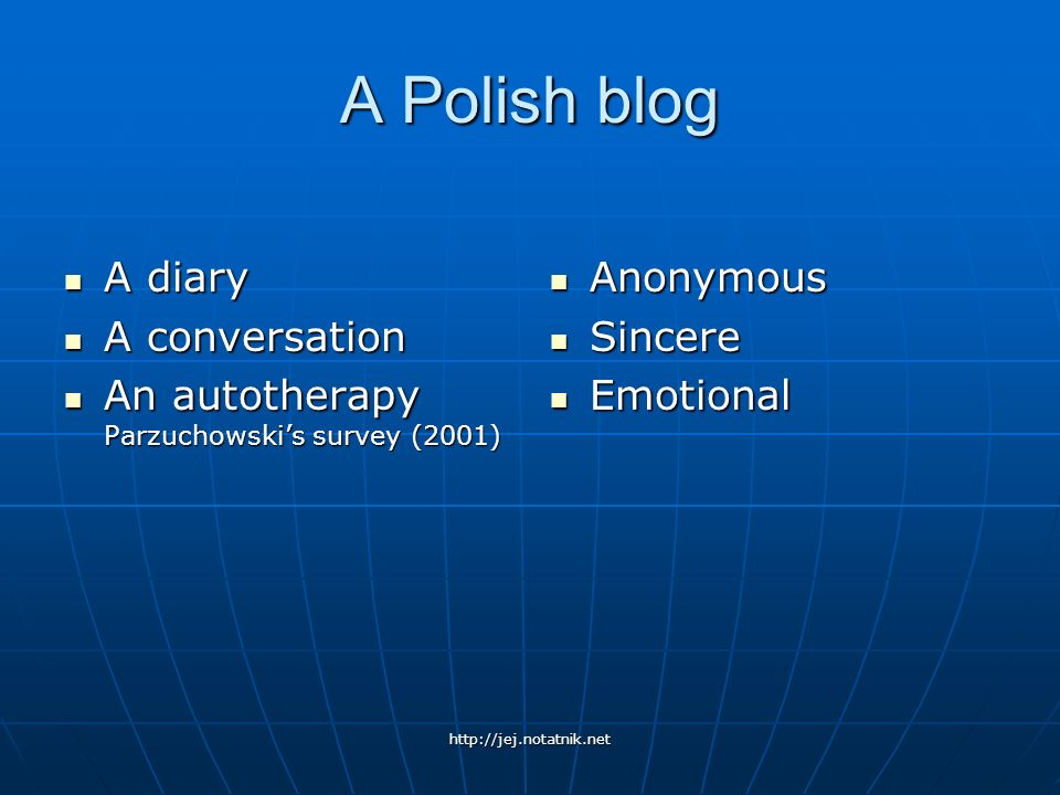 A Polish blog A diary A conversation