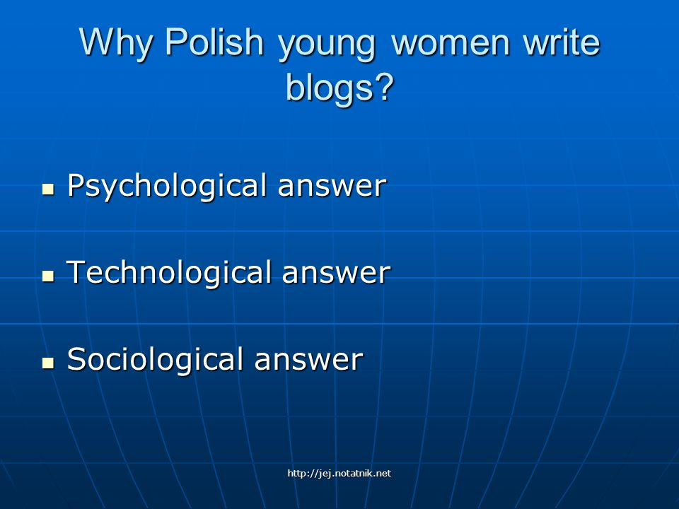 Why Polish young women write blogs