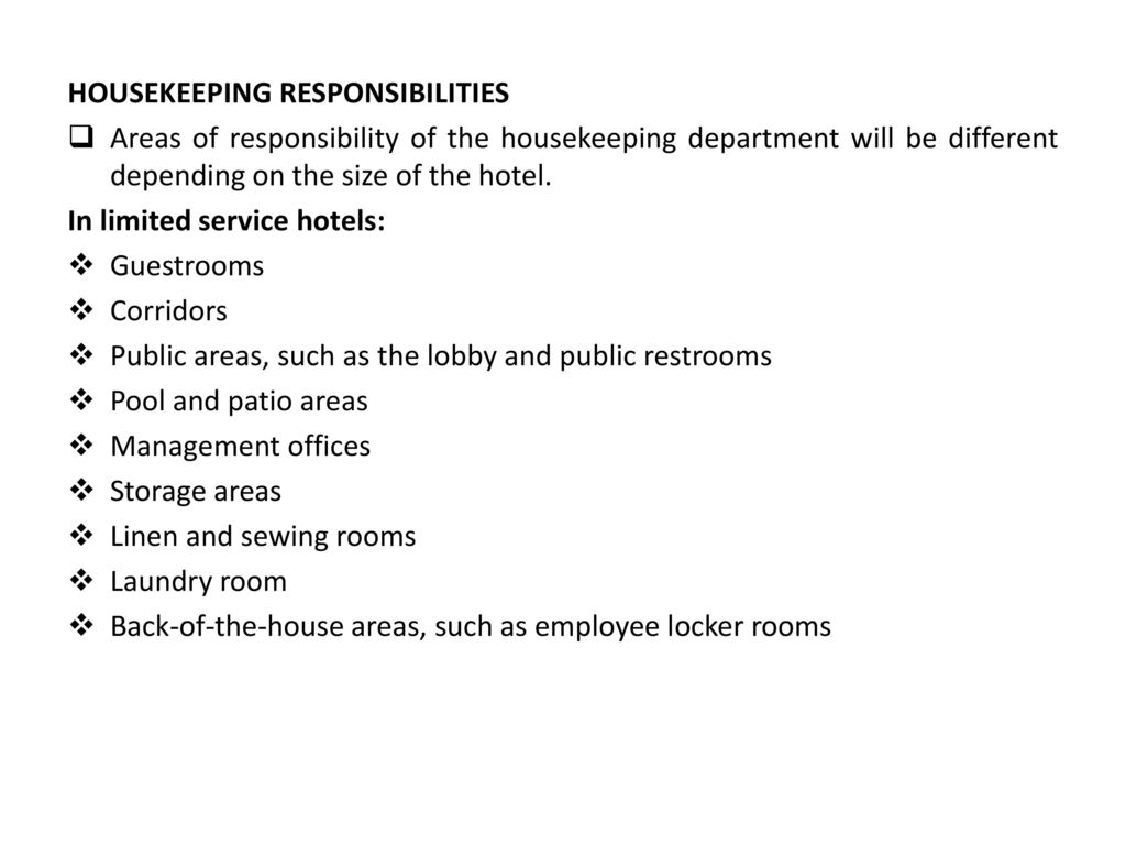 housekeeping responsibilities housekeeper duties housekeeping - Housekeeping Responsibilities
