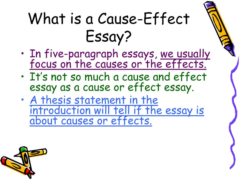 cause and effect essay 3 essay Selecting a topic this is a crucial step to writing a good cause and effect essay it is also a tricky step for many students if the instructor did not specify a particular event, action or phenomenon.