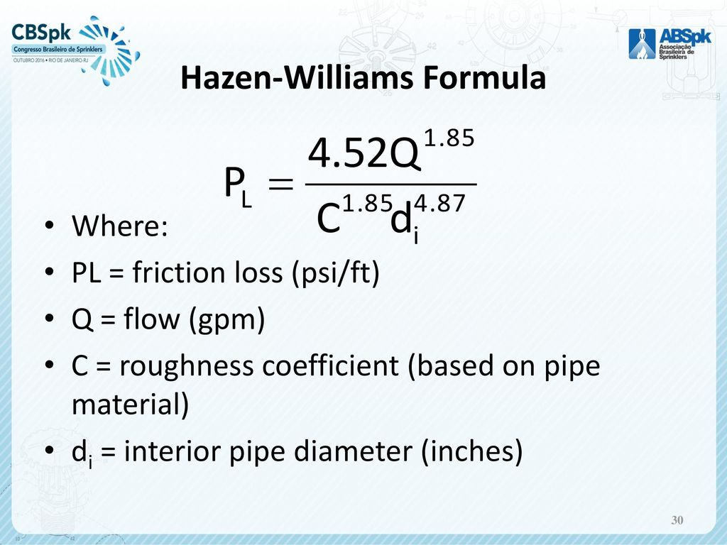 hazen williams formula for pipes