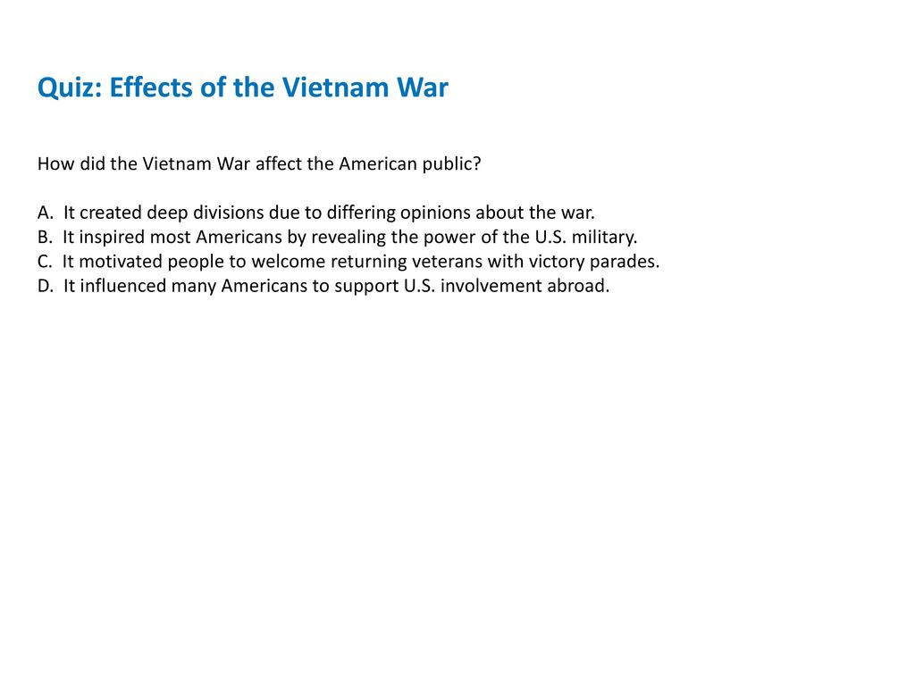 effects of vietnam war on society What were the negative and positive effects of the vietnam war  vietnam now has a capitalistic economy and open society vietnam is a honest trading partner with .