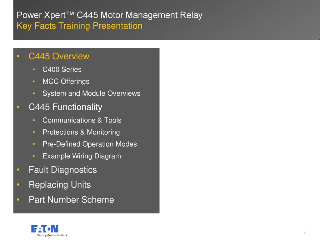 Power Xpert™ C445 Motor Management Relay - ppt video online download