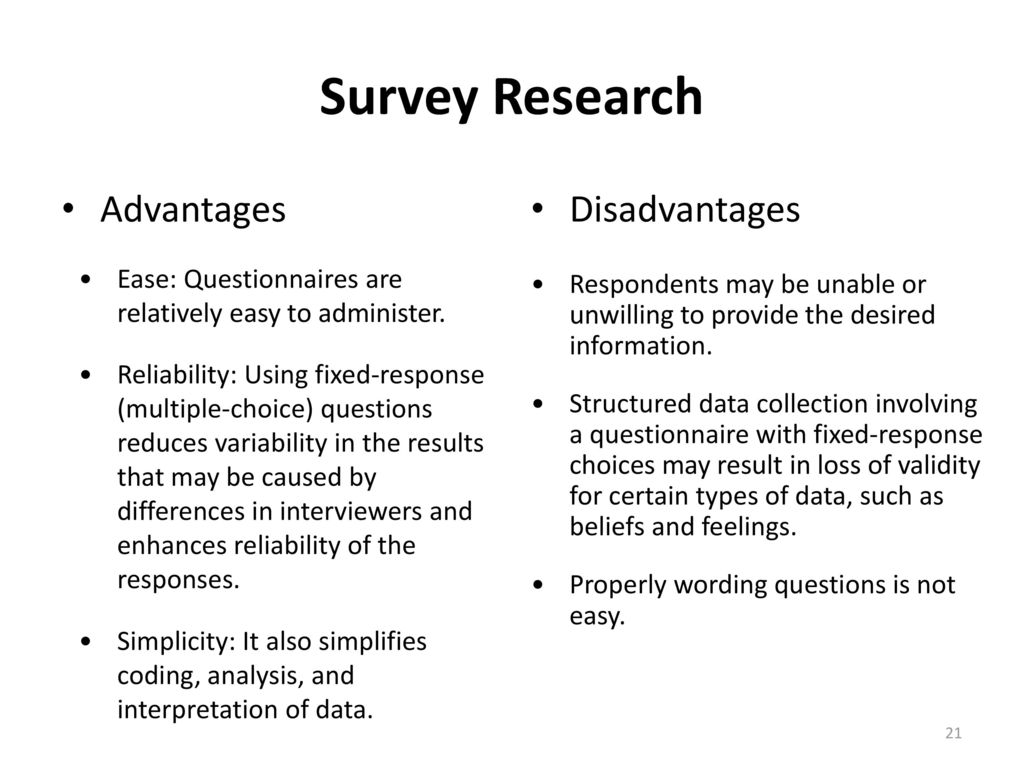 disadvantages of research methods Research methodology appropriate selection of research methods leads to the success of any research (steele, 2000) this chapter discusses.