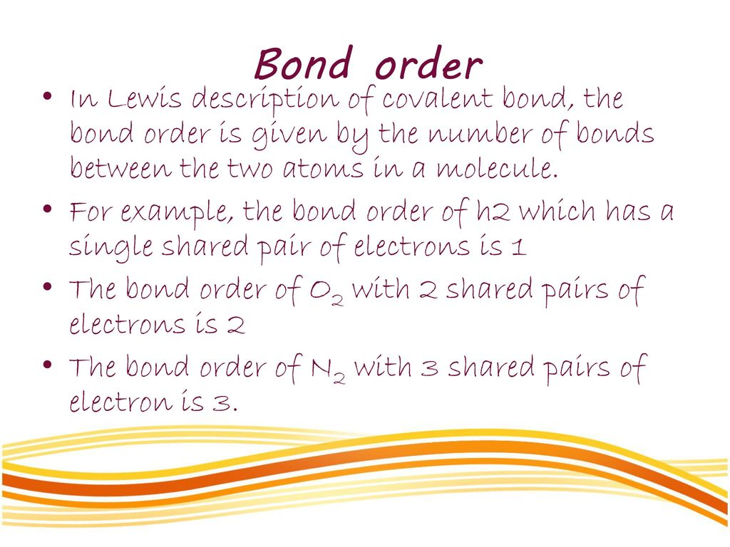 explain the relationship between bond order and length of h2