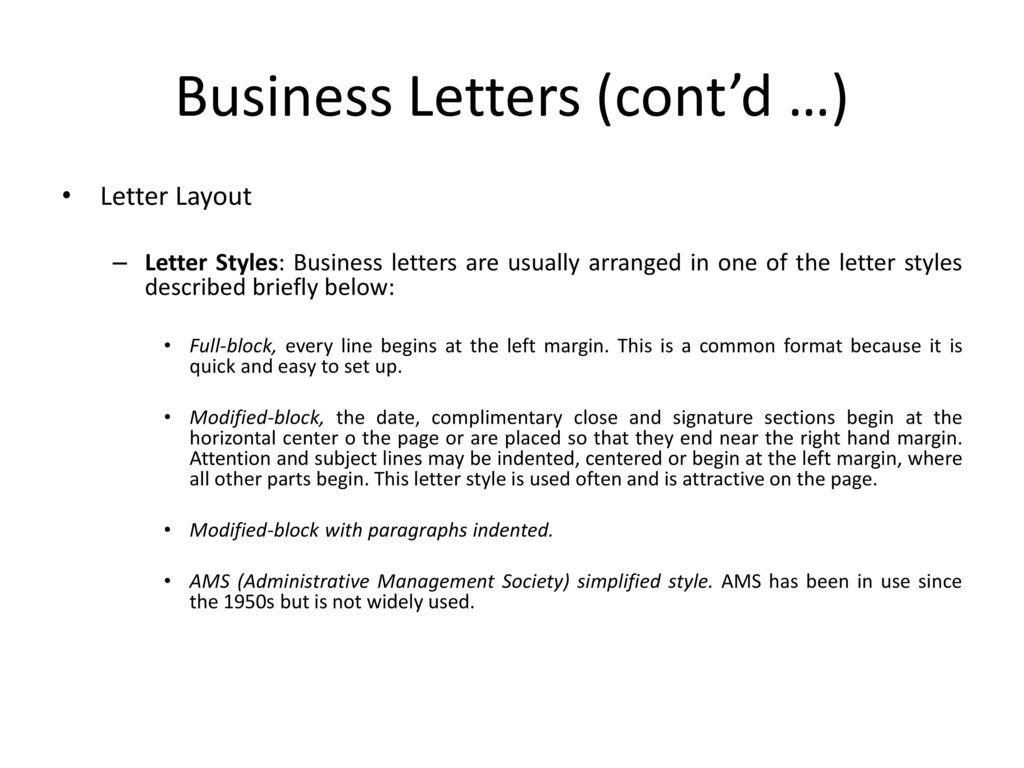 values of business letters