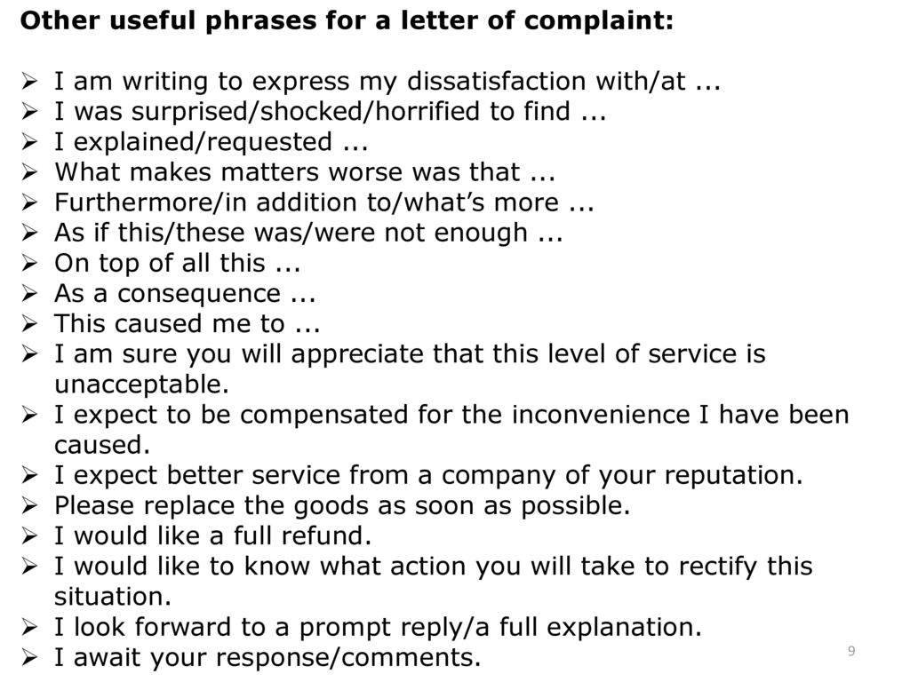 Useful phrases for writing letters last but not least punctuation other useful phrases for a letter of complaint spiritdancerdesigns Choice Image